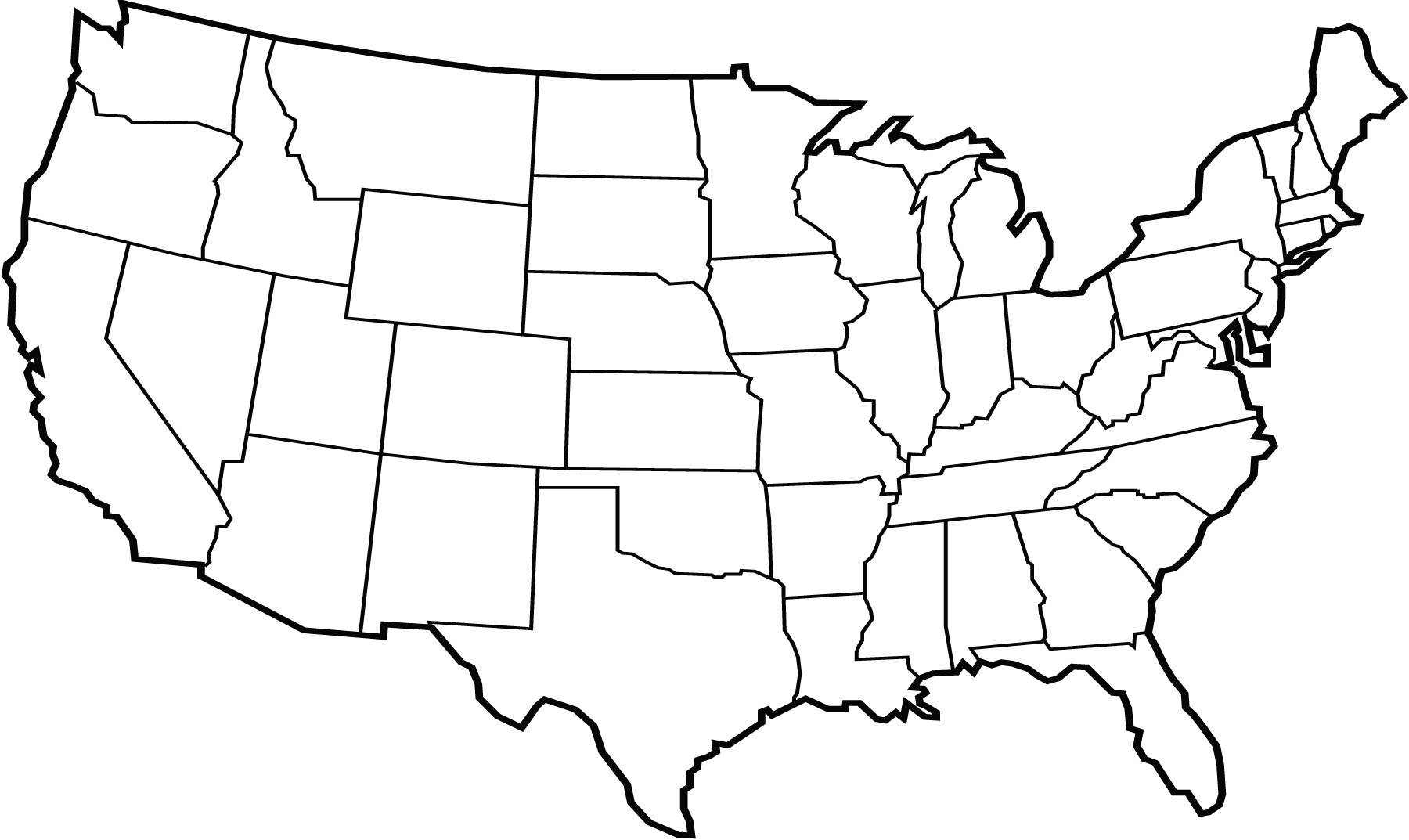 Line Drawing United States Map : Continental united states vector images