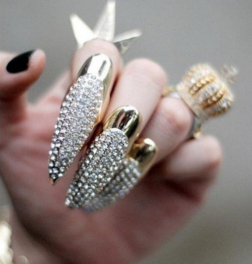 Different Nail Designs with Diamonds
