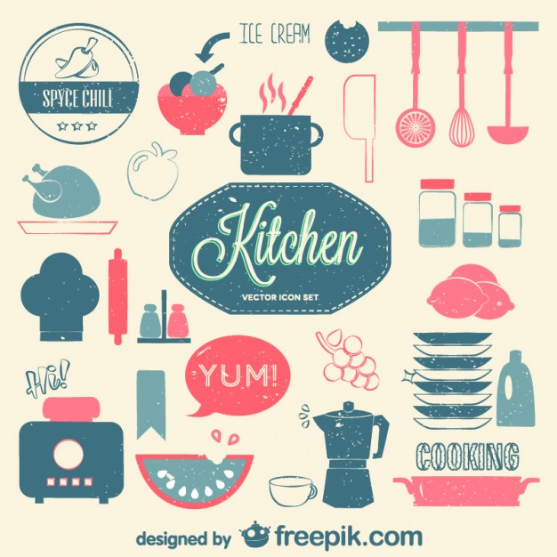 6 Vintage Kitchen Background Psd Images