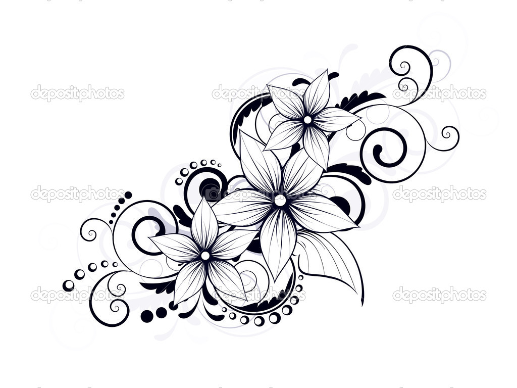 18 Flower Swirl Design Images Flower and Swirl Tattoo