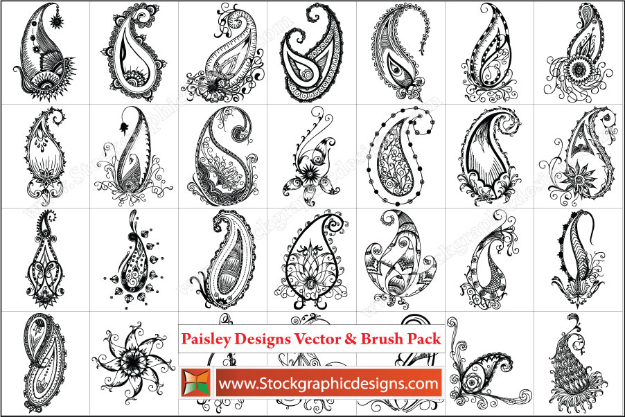 19 Single Vector Paisley Pattern Images