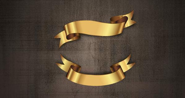 Gold Ribbon Banner Vector