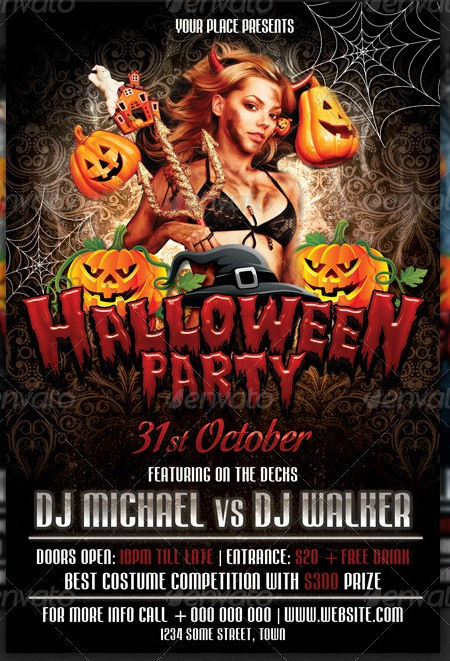 15 Halloween Party Flyer PSD Template Images