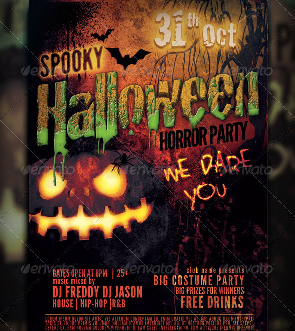 15 Halloween Party Flyer PSD Template Images - Halloween Party Flyer ...