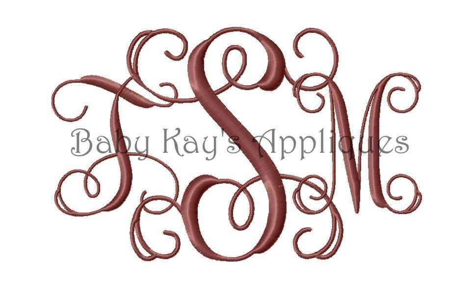 9 Interlocking Vine Monogram Embroidery Font Images