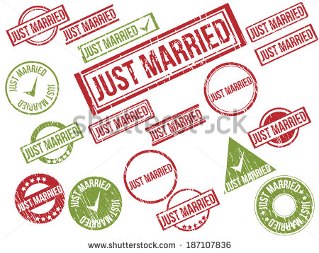 Just Married Rubber Stamp