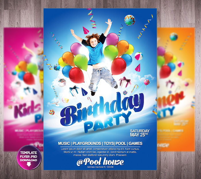 18 Free Psd Party Flyers Templates For Kids Images