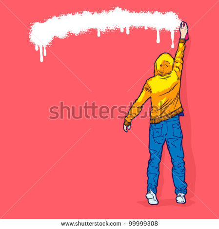 13 A Guy Spray Painting Vector Images