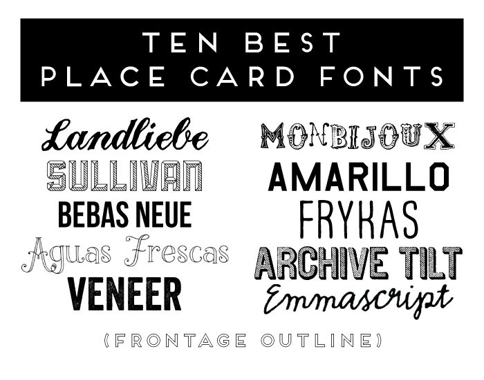 Place Card Fonts