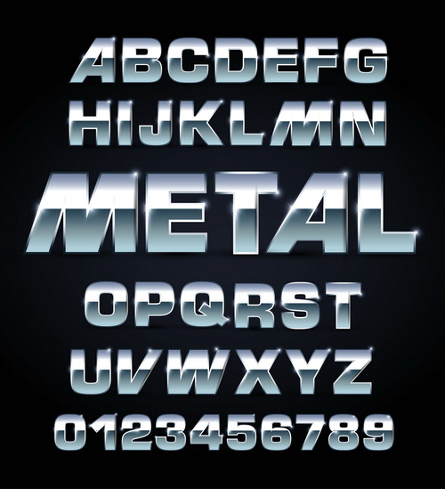 Shiny Metal Font Letters