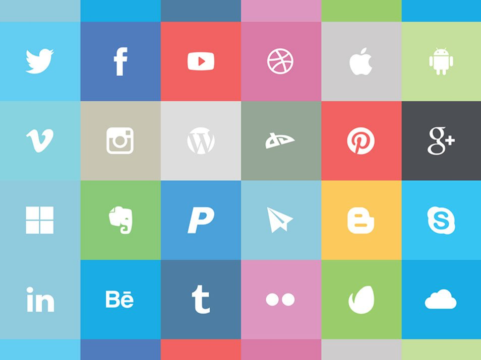 17 Flat Social Media Icon Sets Images