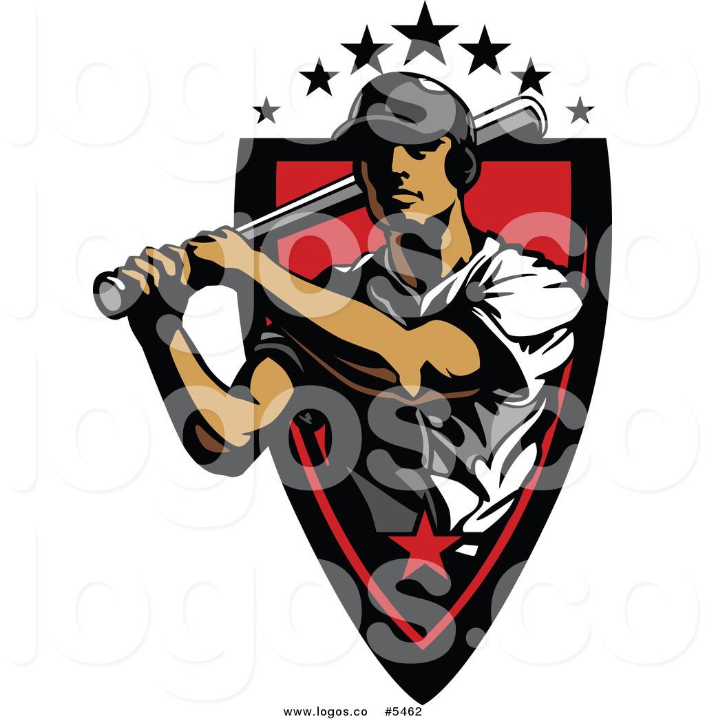 Swinging Baseball Player Logo