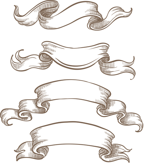 12 Hand Drawn Black Ribbon Banner Vector Free Images