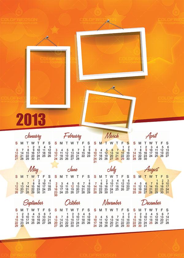 2013 Calendar Template PSD Free Download