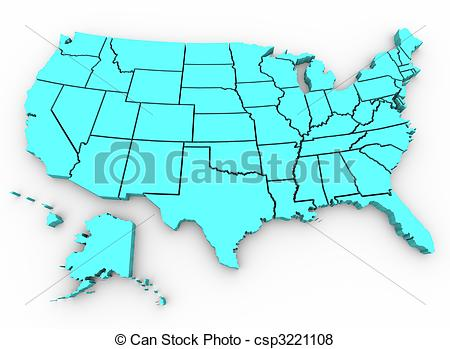 3D United States Map Clip Art
