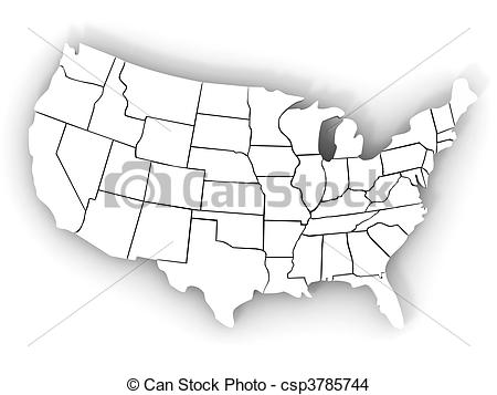 3D USA Map Clip Art