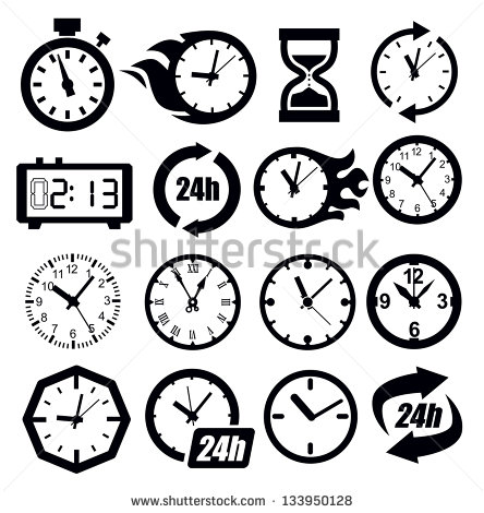 Black and White Clock Icon