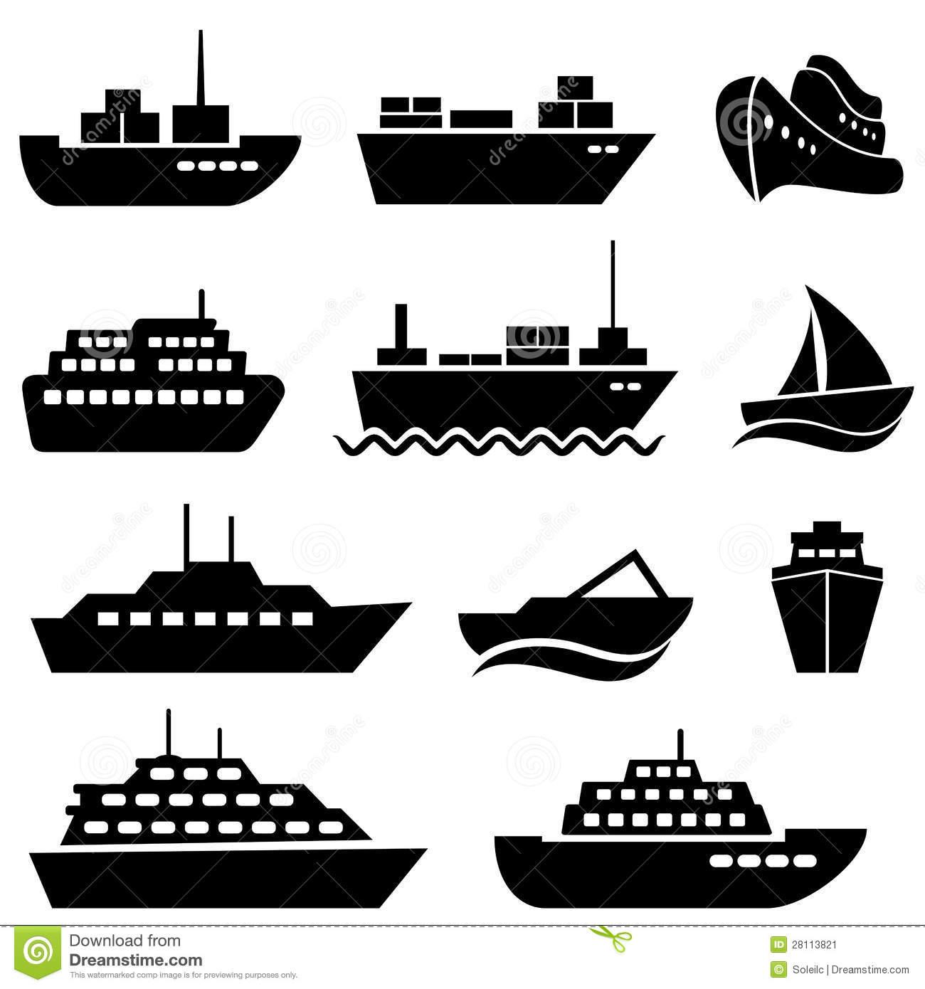 Cargo Ship Icon Black and White