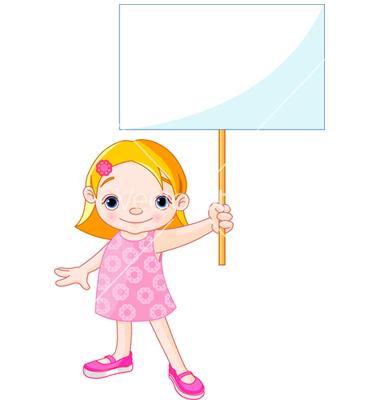 Cartoon Girl Holding Sign