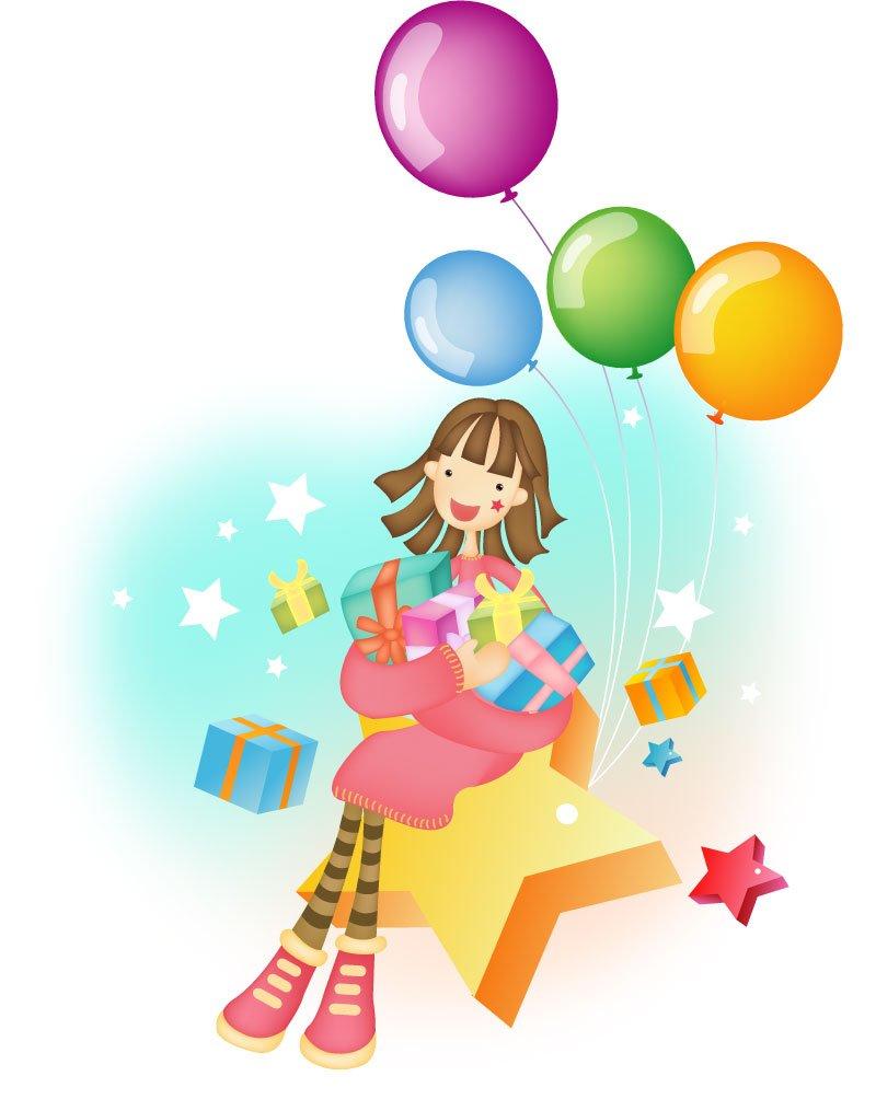 Cartoon Girl with Balloons