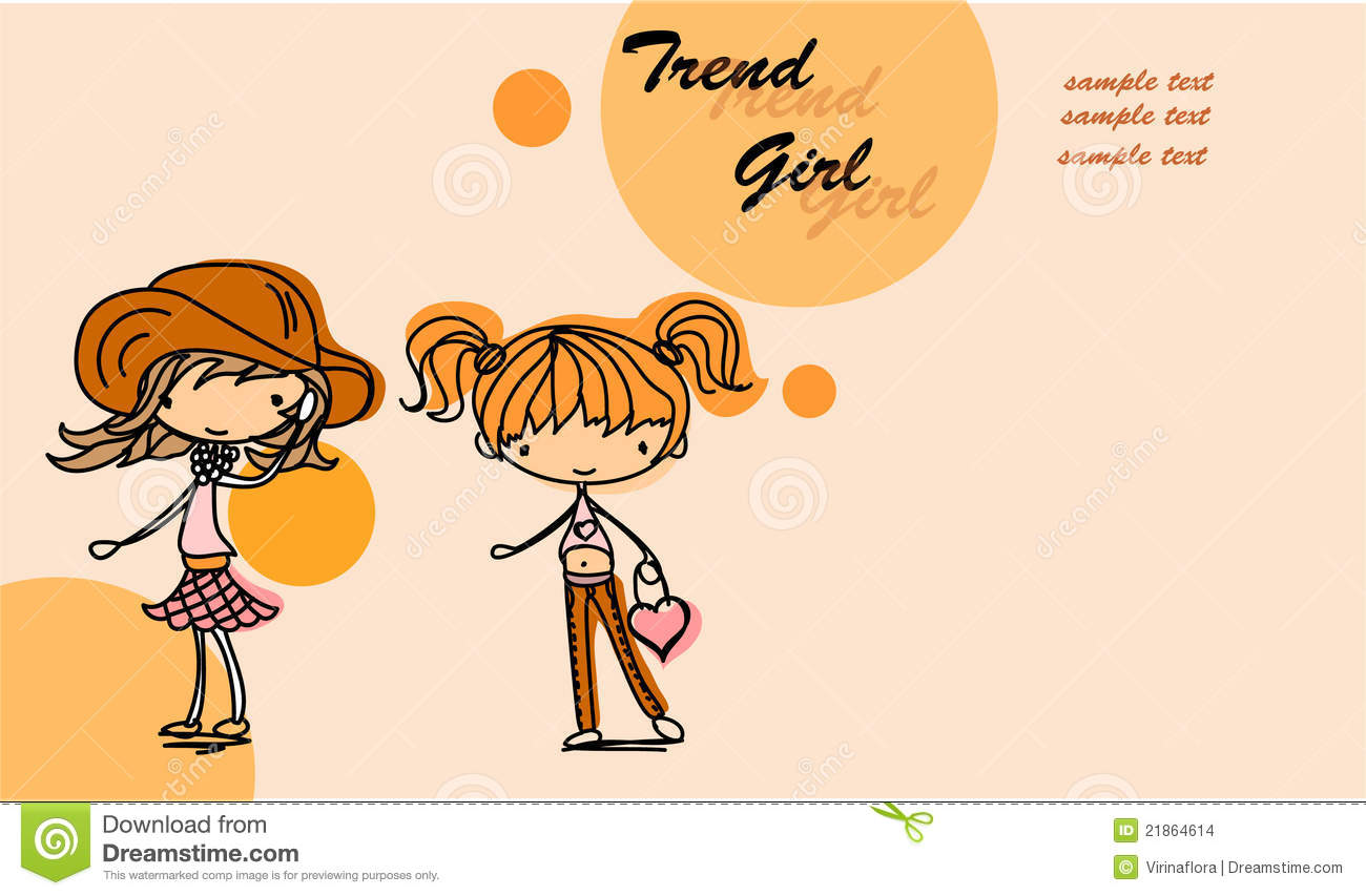 Cute Cartoon Girl Vector