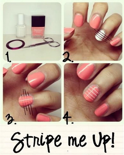Cute Easy Nail Designs Using Tape: 13 Easy DIY Nail Art Designs Images