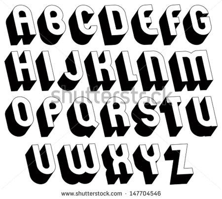Font Style Bold Letters Alphabet 3D
