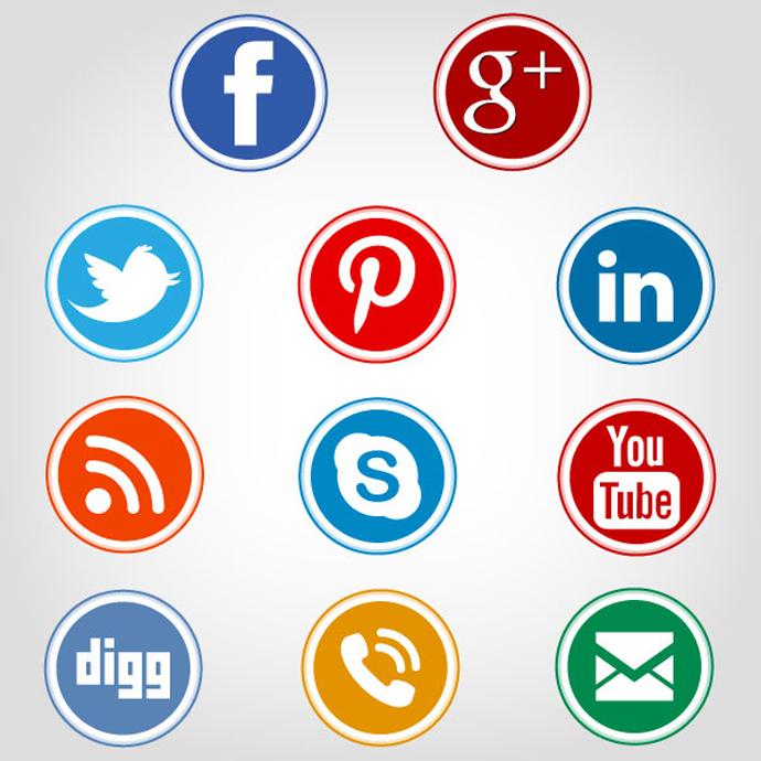 18 Circle Social Media Icons Vector Images