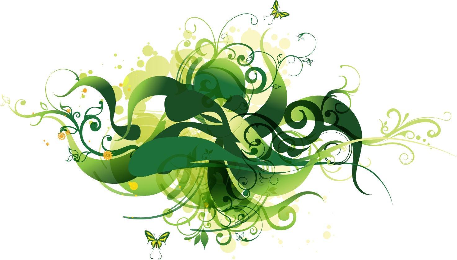 Green Flower Line Drawing : Green line designs images curved design art