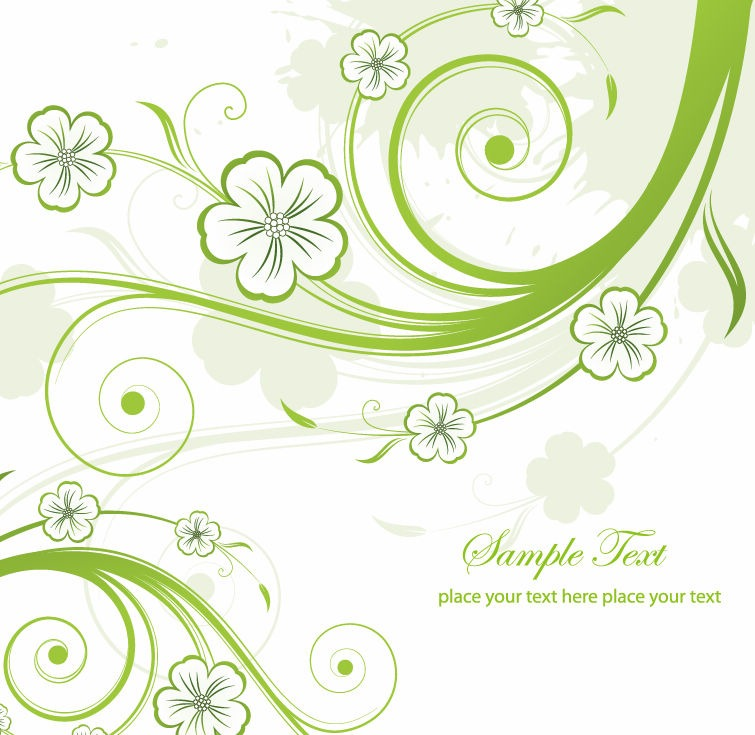 Green Swirl Floral Vector