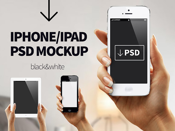 12 Hands Holding IPad PSD Mockup Free Images