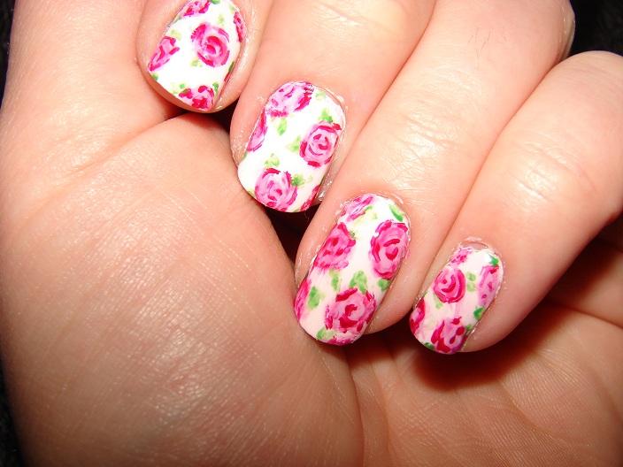 Nail Art Design Pink Roses