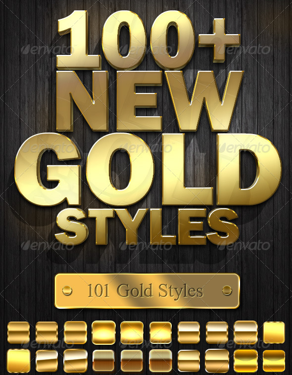14 Gold PSD Styles Images