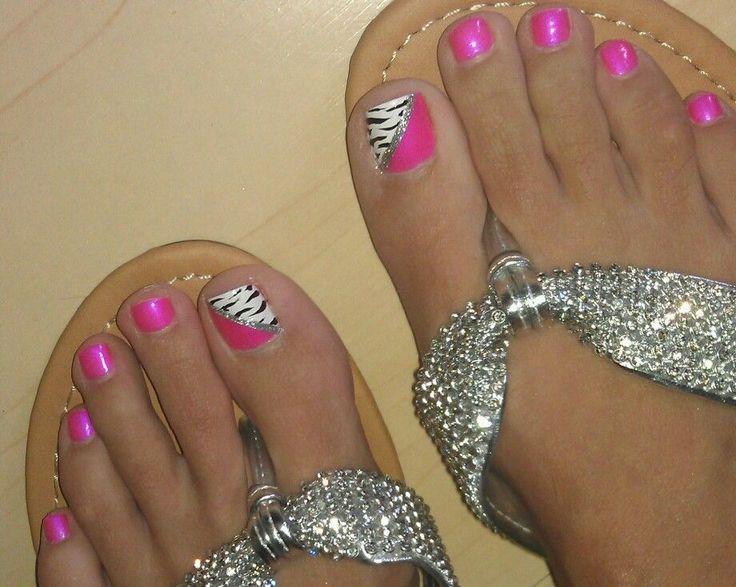 Pink Zebra Toenail Designs