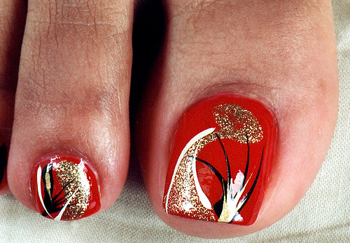 14 Red Toe Nail Designs Images