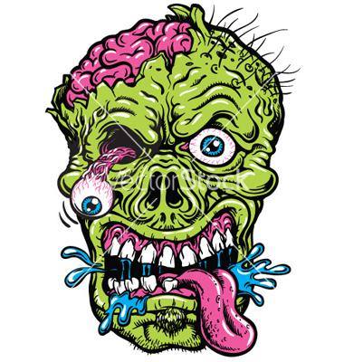 Scary Cartoon Zombie Head