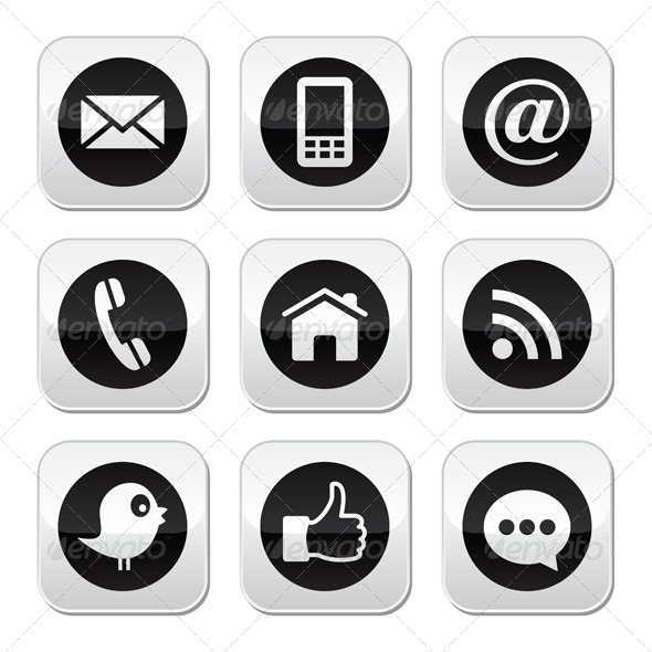Social Media Icons Phone Contact