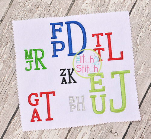 Stacked Monogram Embroidery Font