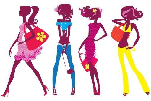 Vector Fashion Girls Cartoon