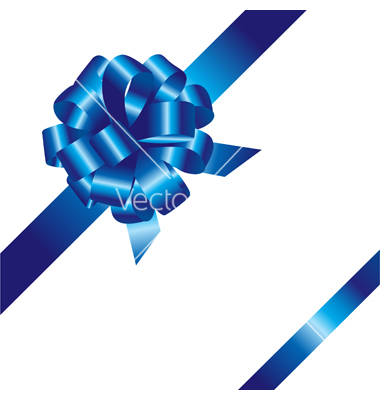 Blue Ribbon Bow Vector