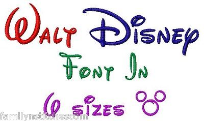 12 Walt Disney Font Machine Embroidery Designs Images