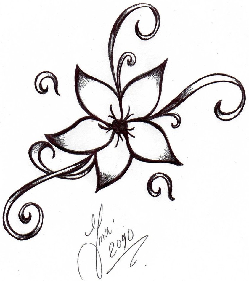 Easy to Draw Flower Tattoo Drawings