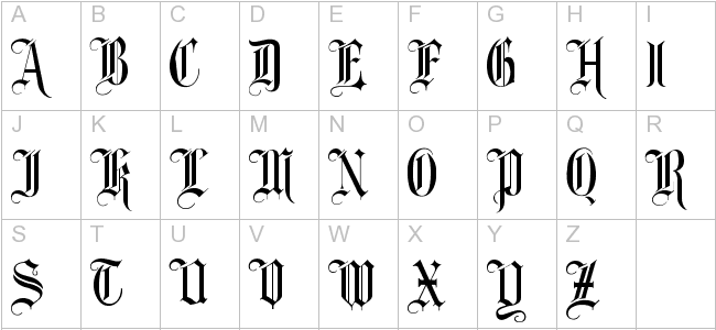 Fancy Old English Alphabet