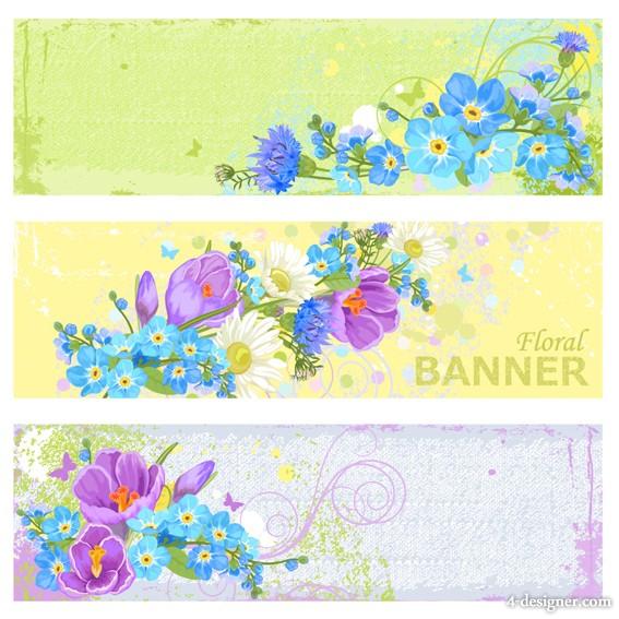 Floral Vintage Banner Vector