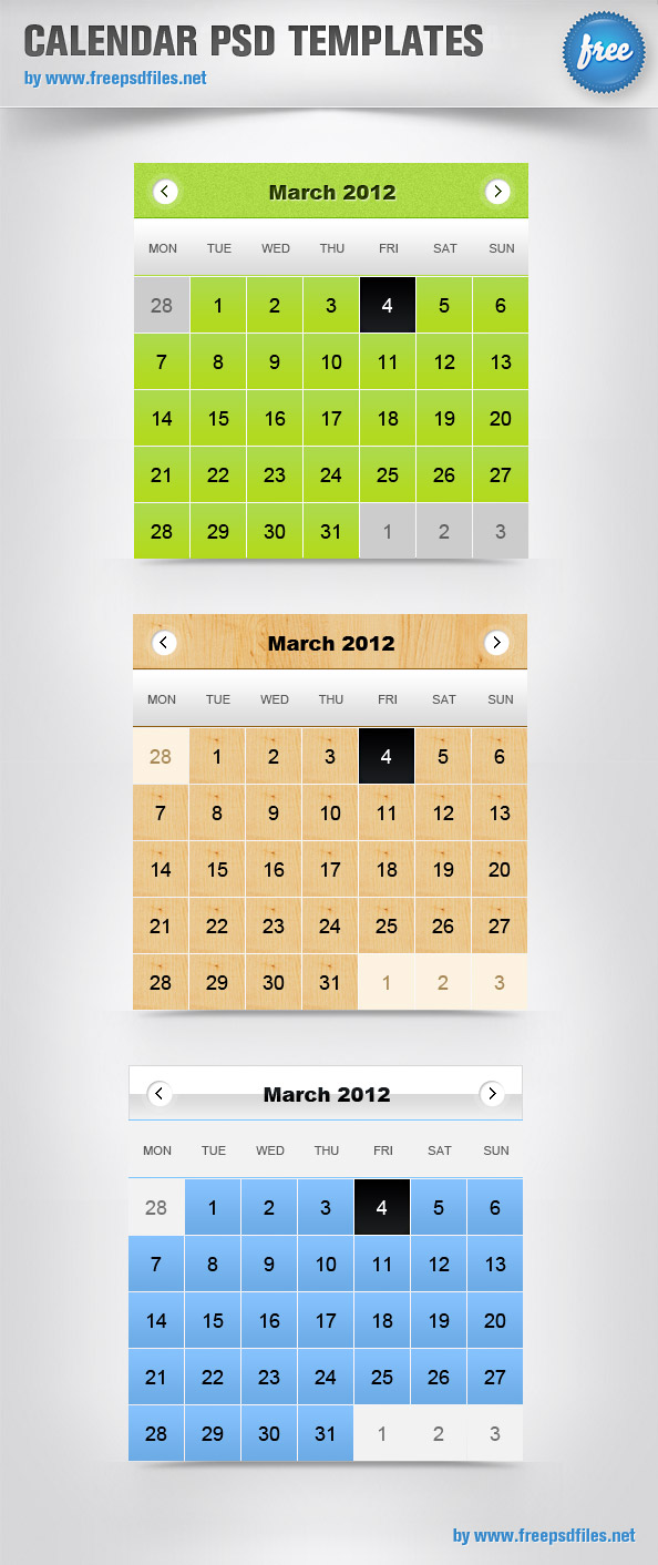 15 Calendar Templates Psd Images