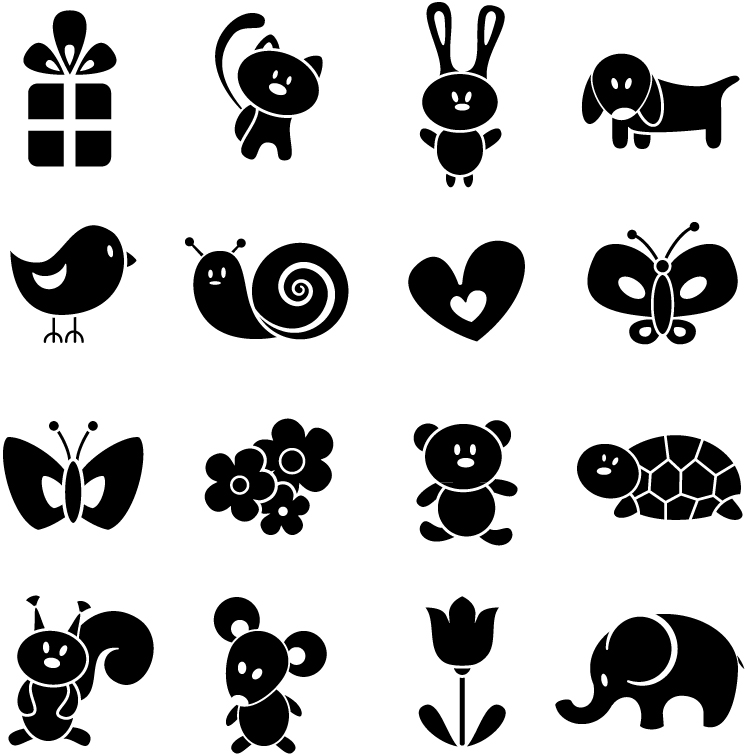 12 Cartoon Animals Vector Silhouette Images