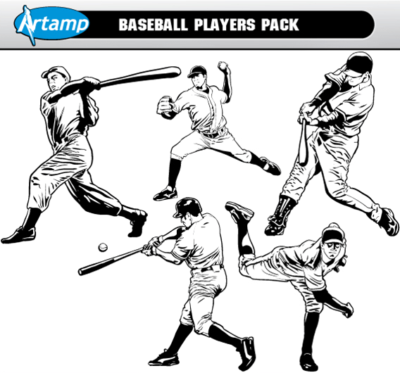 12 Baseball Player Vector Art Images