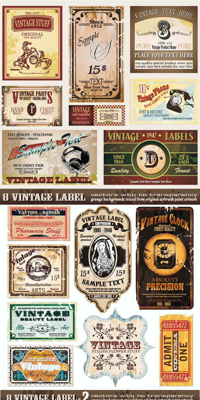 Grunge Vector Vintage Labels