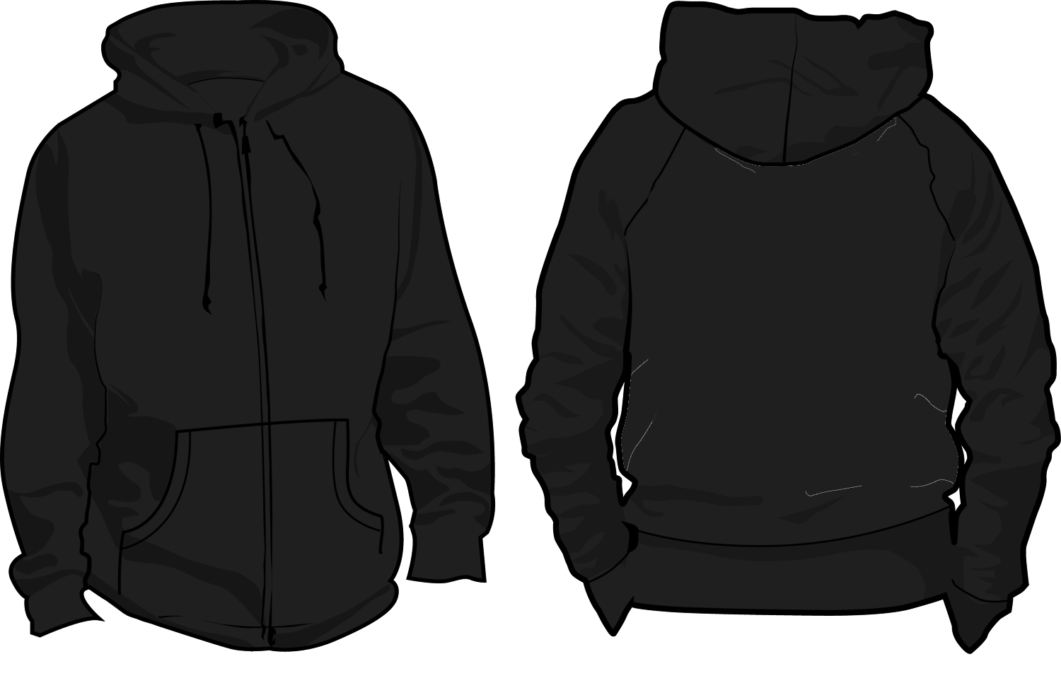 Hoodie Template Front and Back