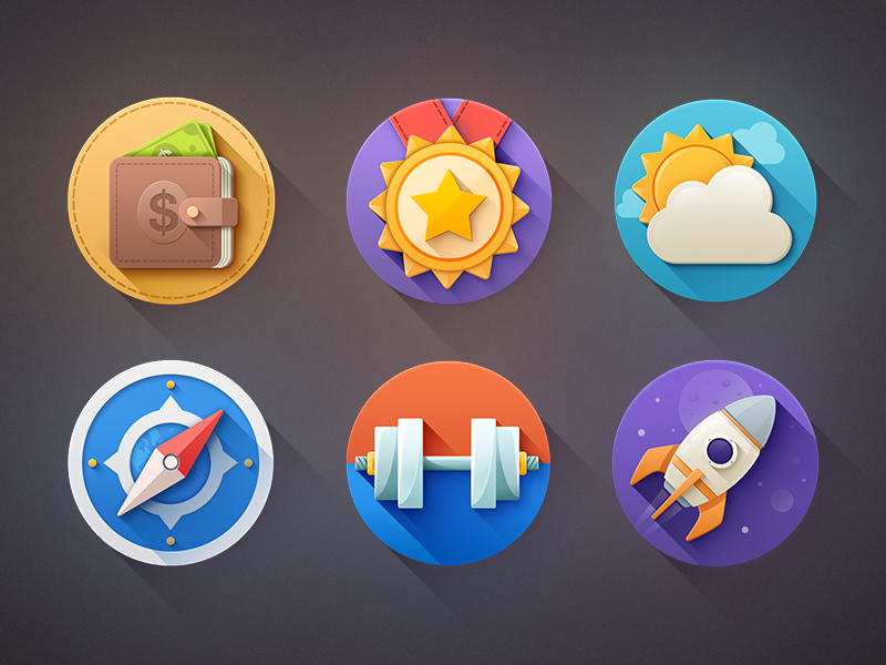 Long Shadow Flat Icons Free